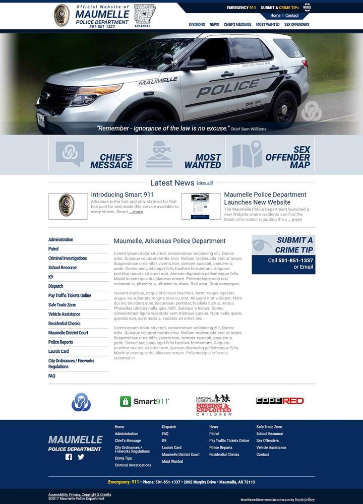 Home page of Maumelle Police Department